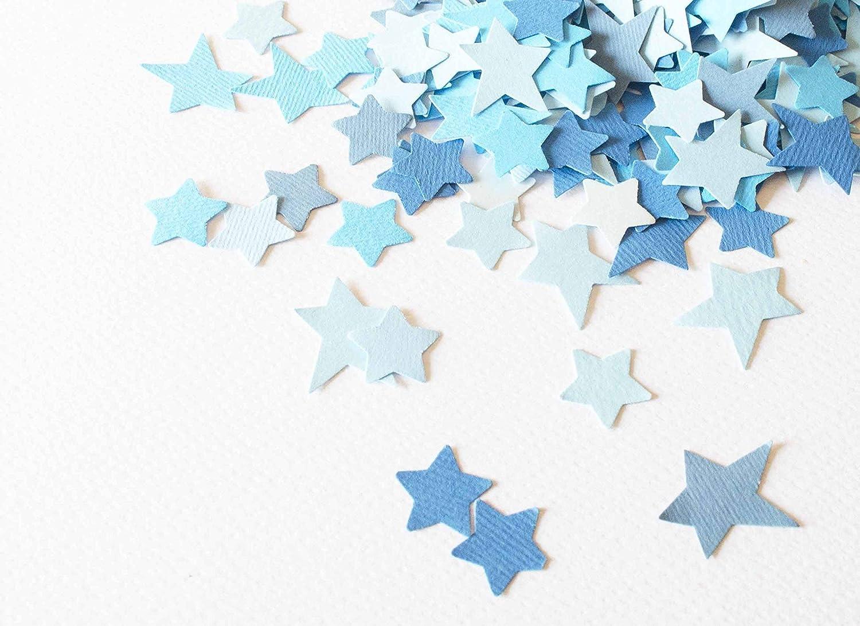Confeti - papel en forma de estrella - 18, 5 g - color azul (totalmente artesanal)