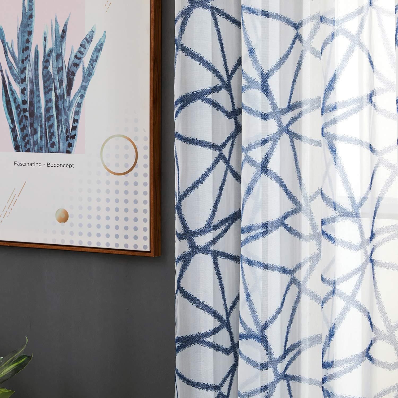 Topfinel Cortinas de Rayas Irregulares Gasa Visillos con Ollaos para ni/ños Hogar Dormitorio Sal/ón 140 Anchura x 160cm Longitud 2 Piezas Azul