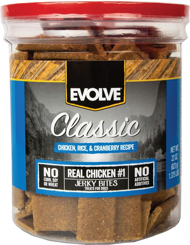 Evolve Classic Chicken, Rice & Cranberry Recipe Dog Treats, 22-Ounce Jar
