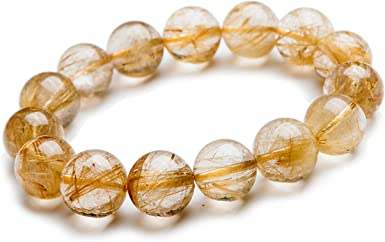 13mm Brazil Natural Golden Rutilated Quartz Crystal Round Bead Stretch Bracelets