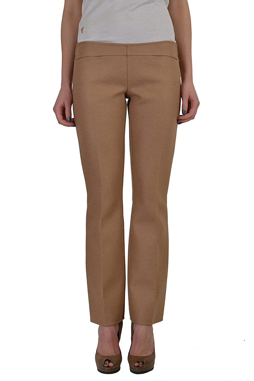 Dsquared2 Women's Beige Camel Wool Flat Front Casual Pants US 4 IT 40