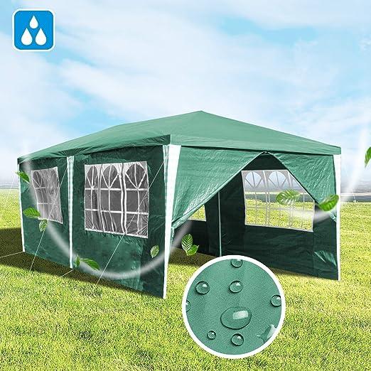 Hengda 3x6m Gazebo, Carpas Impermeables Pabellón, Carpa de Jardín con 6 Paredes Laterales para la Fiesta de Bodas Patio Camping, Verde: Amazon.es: Jardín