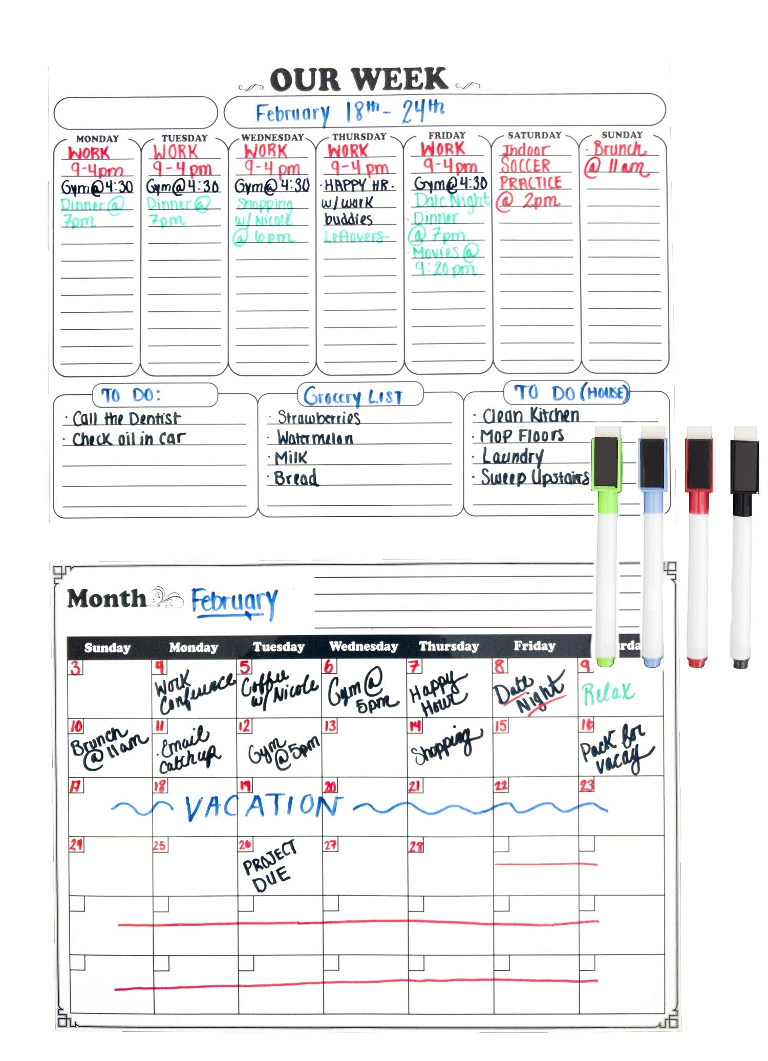 Magnetic Calendar For Fridge 2019 2-Pack. Dry Erase Whiteboard For Refrigerator, Monthly & Weekly Kitchen Planners 16 x 12 inch