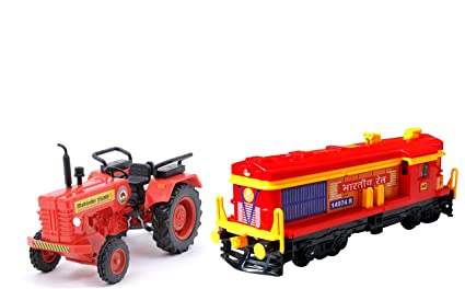 Centy Toys Combo of Mahindra Tractor and Locomotive Engine, Multi Color