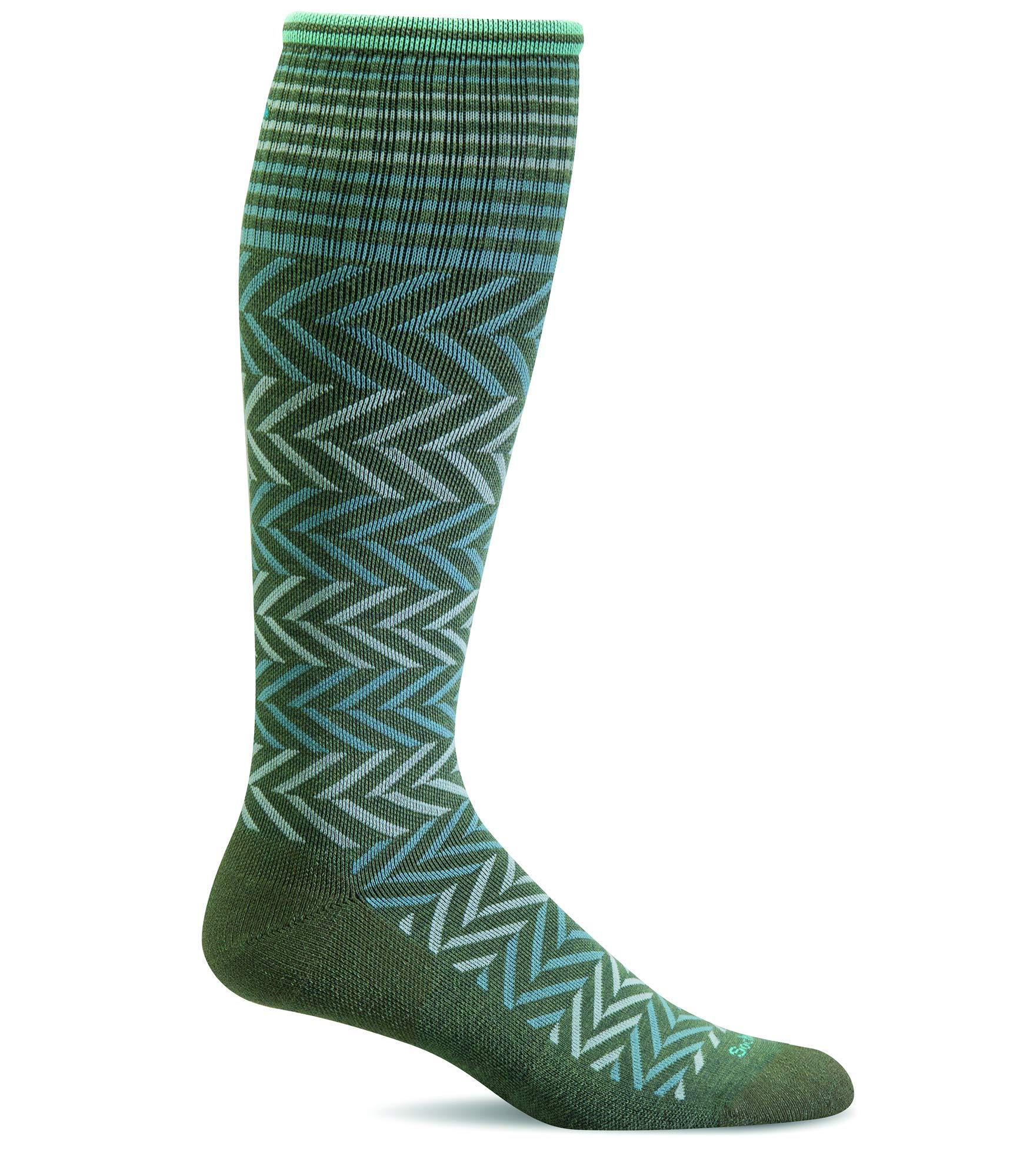 Sockwell Women's Chevron Moderate Compression Socks (Eucalyptus, M/L)