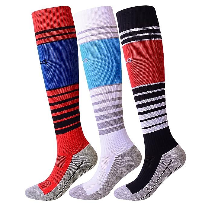 2f033c7fe Soccer Socks Kids 3 Pack Youth Sports Socks for Boys Girls (Black White