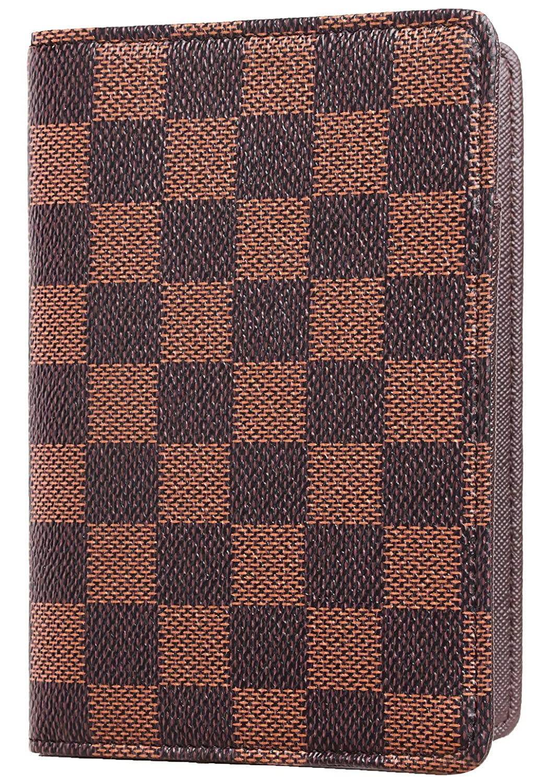 Scarlet Rita Messi Luxury Passport Holder Cover Case Checkerboard PU Vegan Leather RFID Blocking Travel Organizer Card Holder