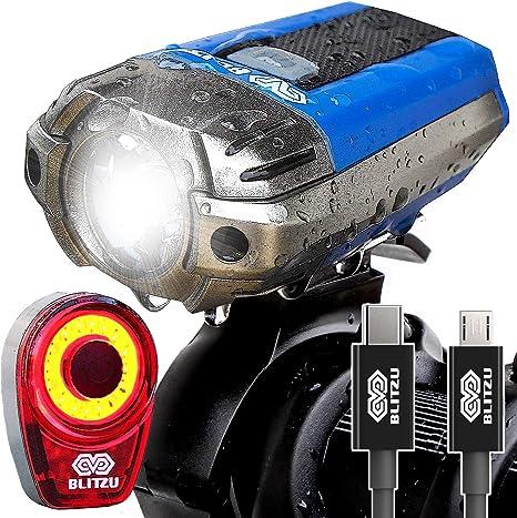 Faro delantero para bicicleta Blitzu, recargable por medio de conexión USB, 390 lm, faro delantero y
