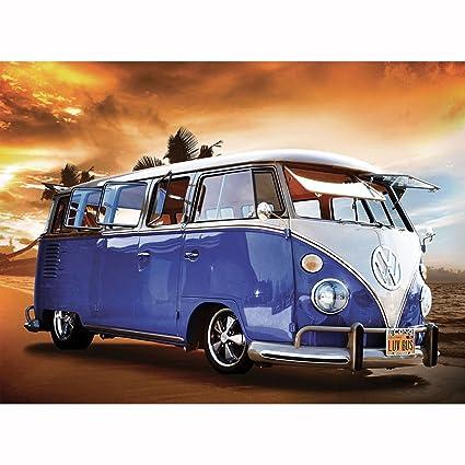 Vw Camper Van >> 1wall Blue Volkswagen Campervan Wall Mural 3 15 X 2 32m Wood 1 X 315 X 232 Cm