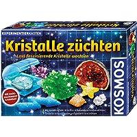 KOSMOS 643522 Kristalle züchten. Lass faszinierende Kristalle wachsen. Komplett-Set, nachtleuchtende, glitzernde Kristalle, Blitzkristalle, Druse, Schatztruhe, Deko, Experimentierkasten