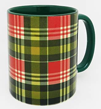 Scottish And Handle Green Mug Glazed With Traditional Tartan ebE9IWDY2H