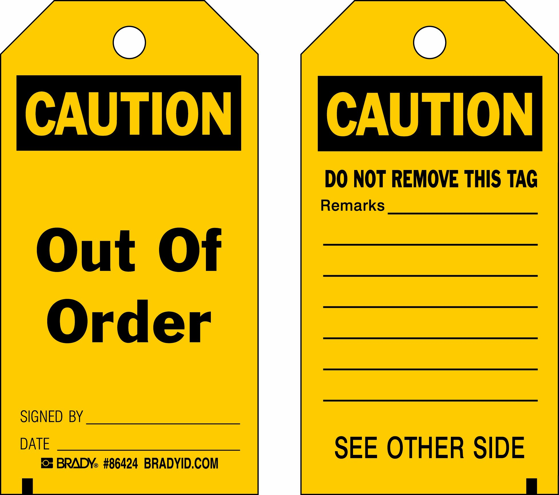 Brady 86424 5 3/4'' Height x 3'' Width, Heavy Duty Polyester (B-837), Black on Yellow Accident Prevention Tags (10 Tags) by Brady