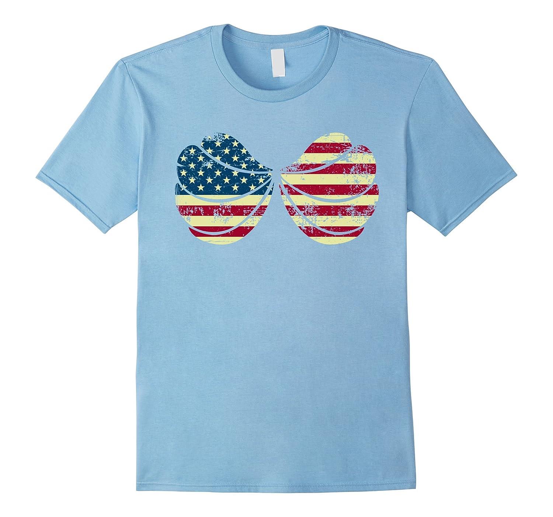 Vintage Mermaid Seashell Bra American 4th of july T-shirt-Teevkd