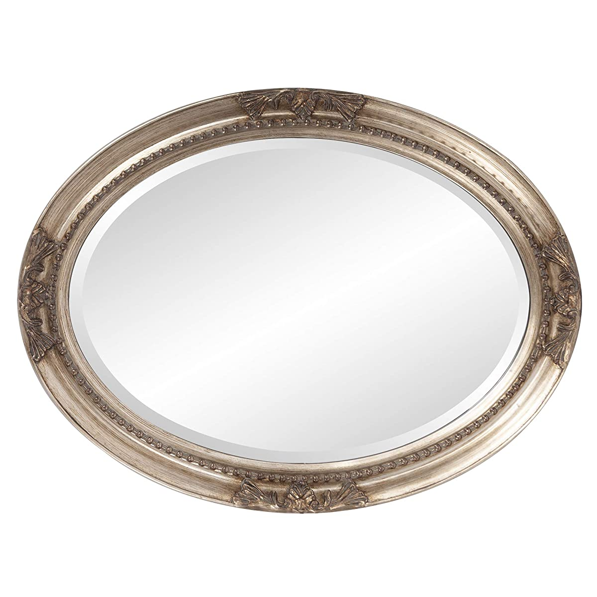 Howard Elliott Queen Anne Mirror, Hanging Beveled Oval Wall Mirror, Antique Silver Leaf