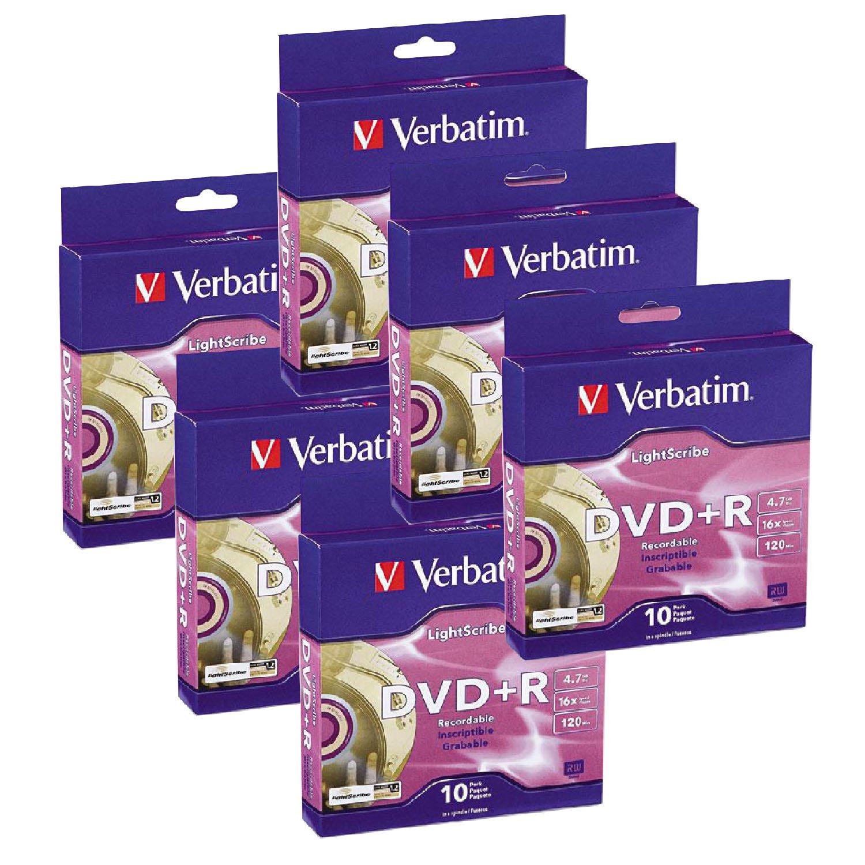 Verbatim 16x DVD+R LightScribe Blank Media, 4.7GB/120min - 60 Pack (95116)