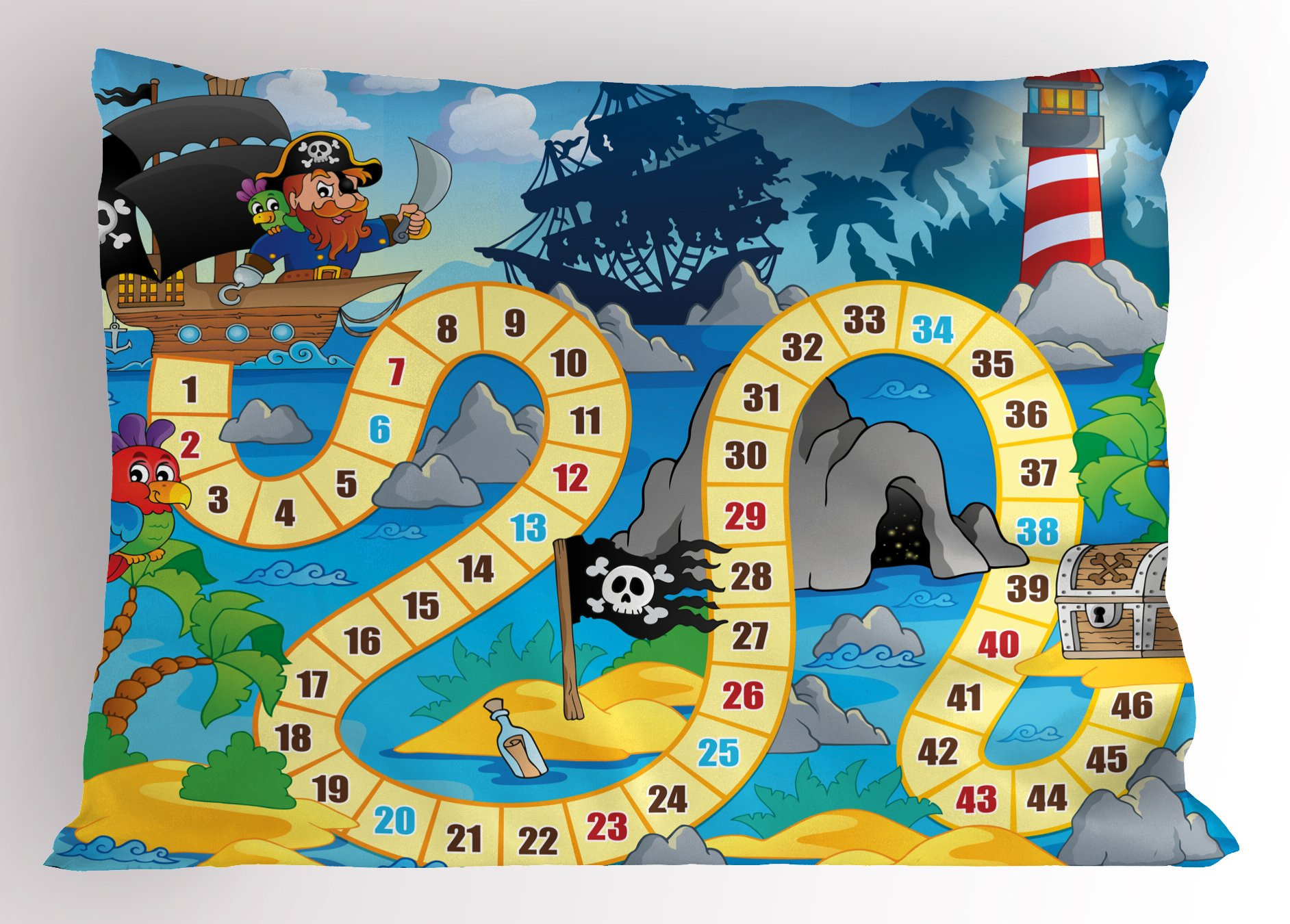 Lunarable Board Game Pillow Sham, Ghost Ship with Pirates Lighthouse Tropical Island Waters Buccaneer Ocean Palms, Decorative Standard King Size Printed Pillowcase, 36 X 20 inches, Multicolor