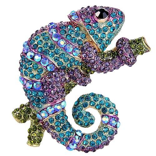 Amazon.com: Ever Faith vidrio austríaco de camaleón Azul y ...