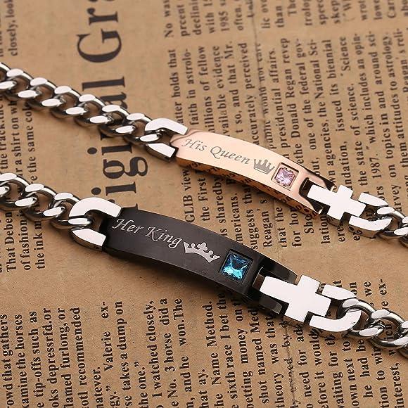 Zysta Coppia di gioielli in acciaio inox King Queen coppia bracciali coppia di anelli per collane ciondolo per partner regalo