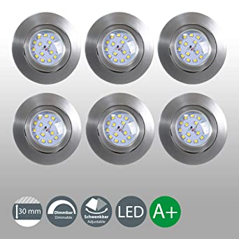 LED Einbaustrahler Dimmbar Schwenkbar Ultra Flach 6er Set 5,5W LED Modul IP23 Spot Einbauleuchte Deckenspot Deckenstrahler Ei
