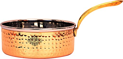 Copper Hammered Sauce Pan with Brass Handle for Kitchen//Restaurant