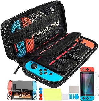Oferta amazon: Th-some Kit de Accesorios 14 en 1 para Nintendo Switch, Funda Protectora para Interruptor Nintendo, Cubierta Transparente para Interruptor, Protector de Pantalla, Tapas Empuñadura de Pulgar (Negro)