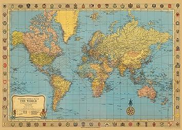 Amazon.com: Cavallini & Co. World Map Decorative Decoupage Poster ...