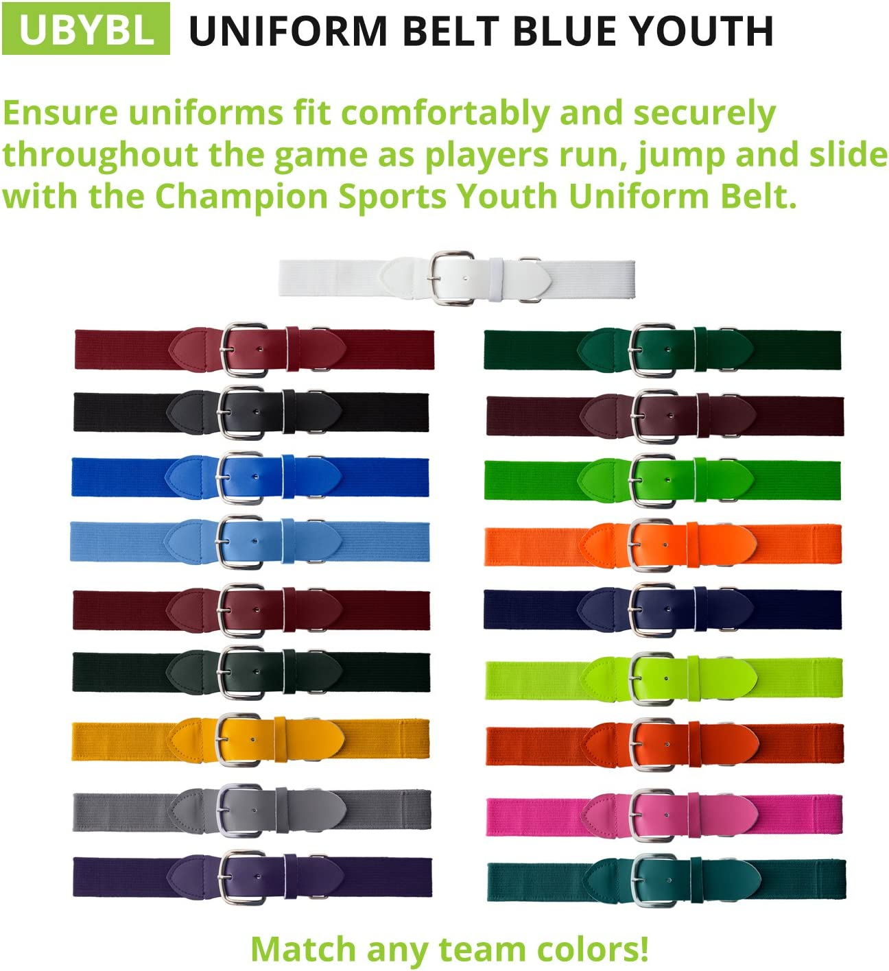 In Multiple Colors Champion Sports Adult and Youth Baseball//Softball Uniform Belts