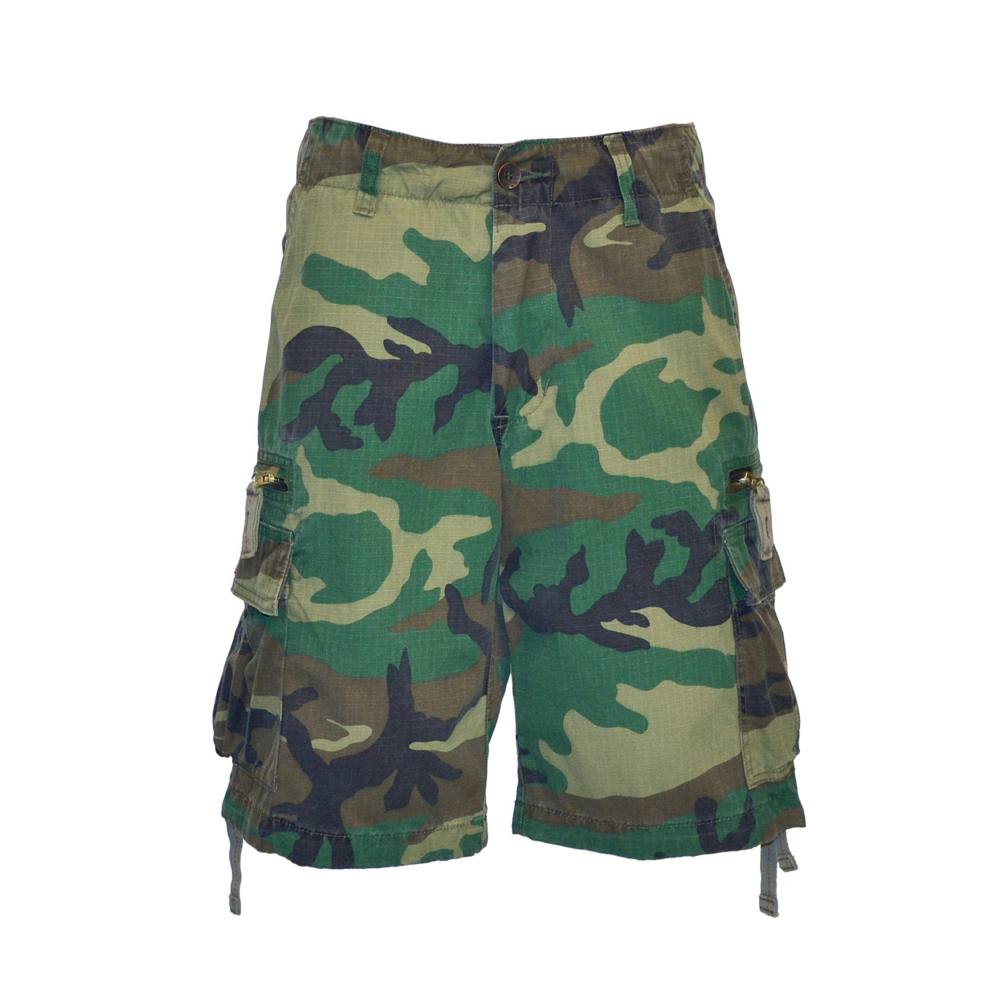Molecule Men's Zipped Railers Cargo Shorts - Lightweight Cotton, Zipped Pockets   USA 31''/S (Tag M) Euro Woodland Camo