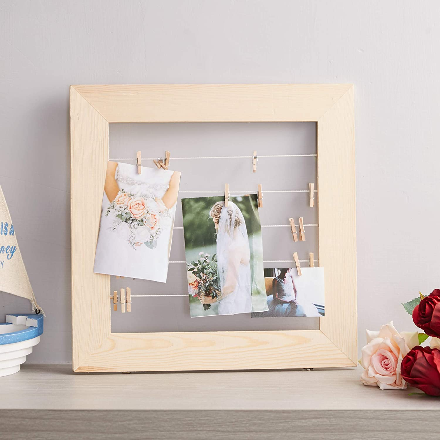 Juvale Wood Hanging Photo Display - Wooden Picture Frame with Clips, Rustic Collage Board, for Hanging Photos, Cards, Postcards, Polaroid, Prints, Art Craft Projects, 5 Lines, 11.8 x 11 x 0.3 Inches
