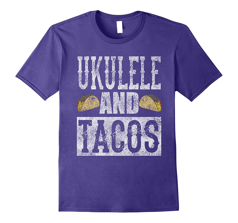 Ukulele and Tacos Funny Taco Band Distressed T-Shirt-CD