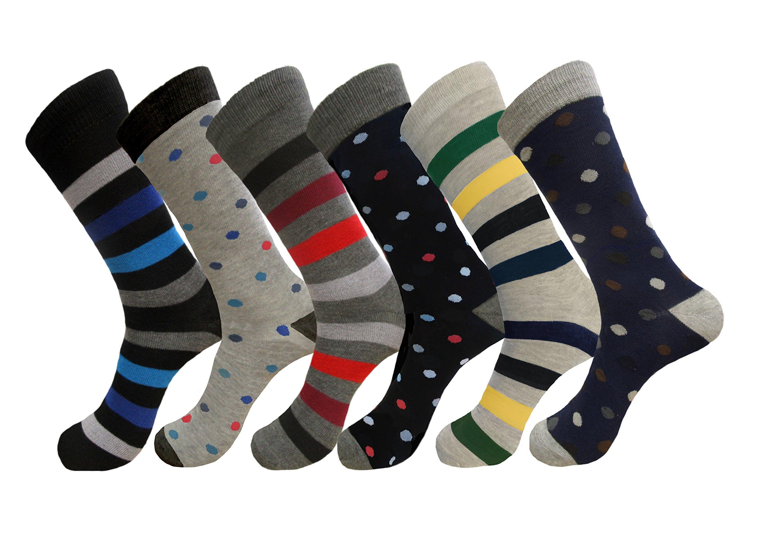 Mens MIX DESIGN FORMAL DRESS SOCKS COTTON BLEND 6 PAIRS SOCKS SIZE 10-13 ( (Assorted)