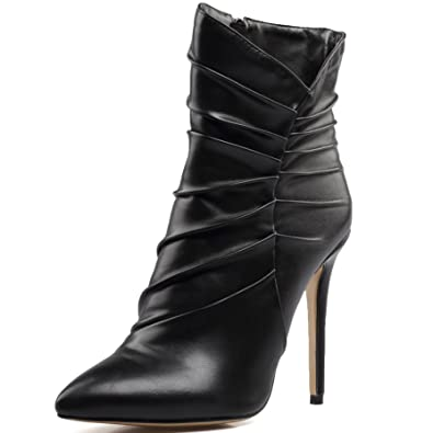 Women's Black Pointed Toe Extremly High Heel Ankle Boots Ladies Warm Booties
