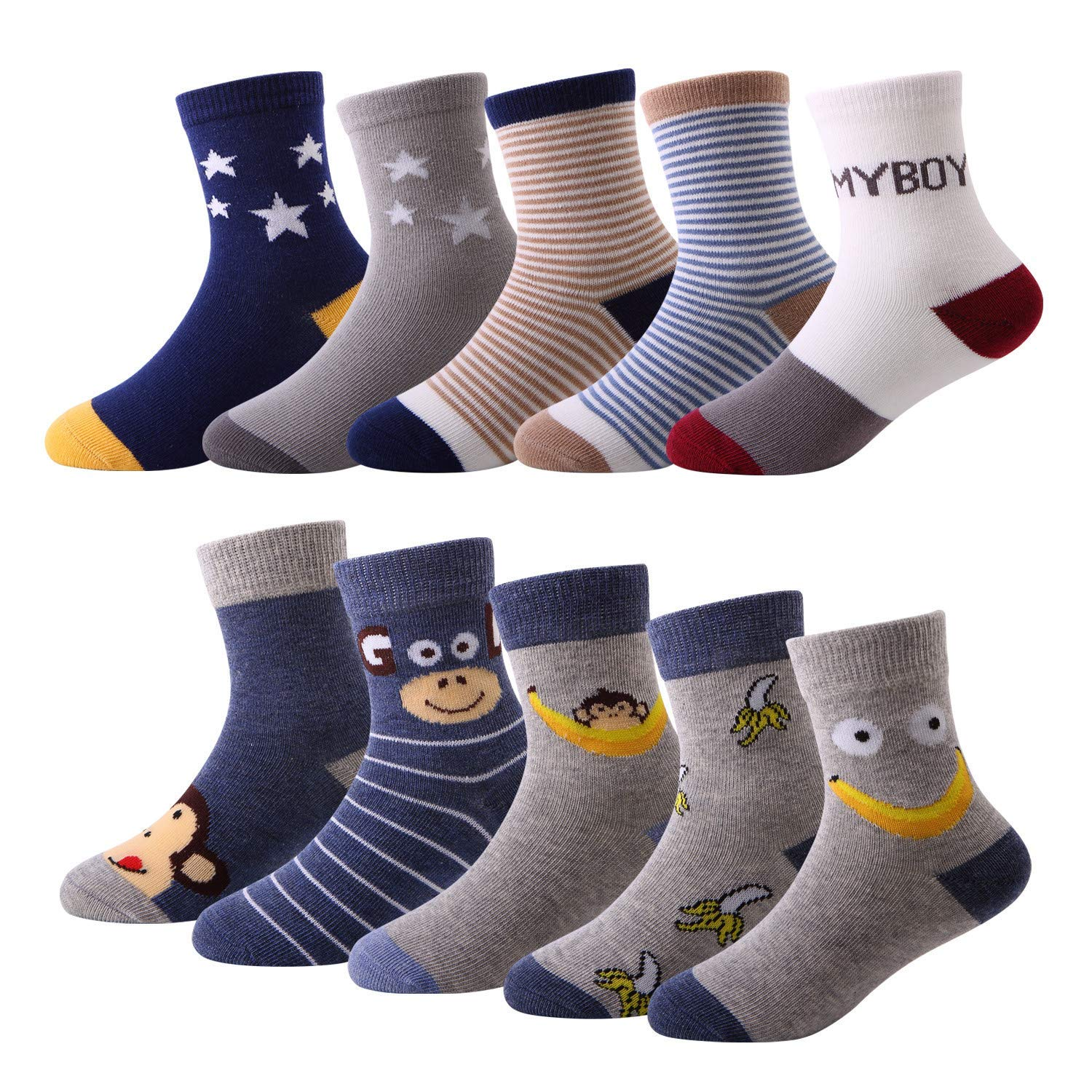 10 Pairs Kids Boys Colorful Novelty Fashion Cotton Crew Socks