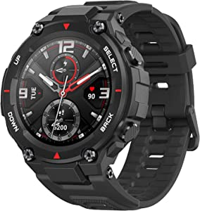 Amazfit T-Rex Smartwatch, Military Standard Certified, Tough Body, GPS, 20-Day Battery Life, 1.3'' AMOLED Display, Water Resistant, 14-Sports Modes, Rock Black