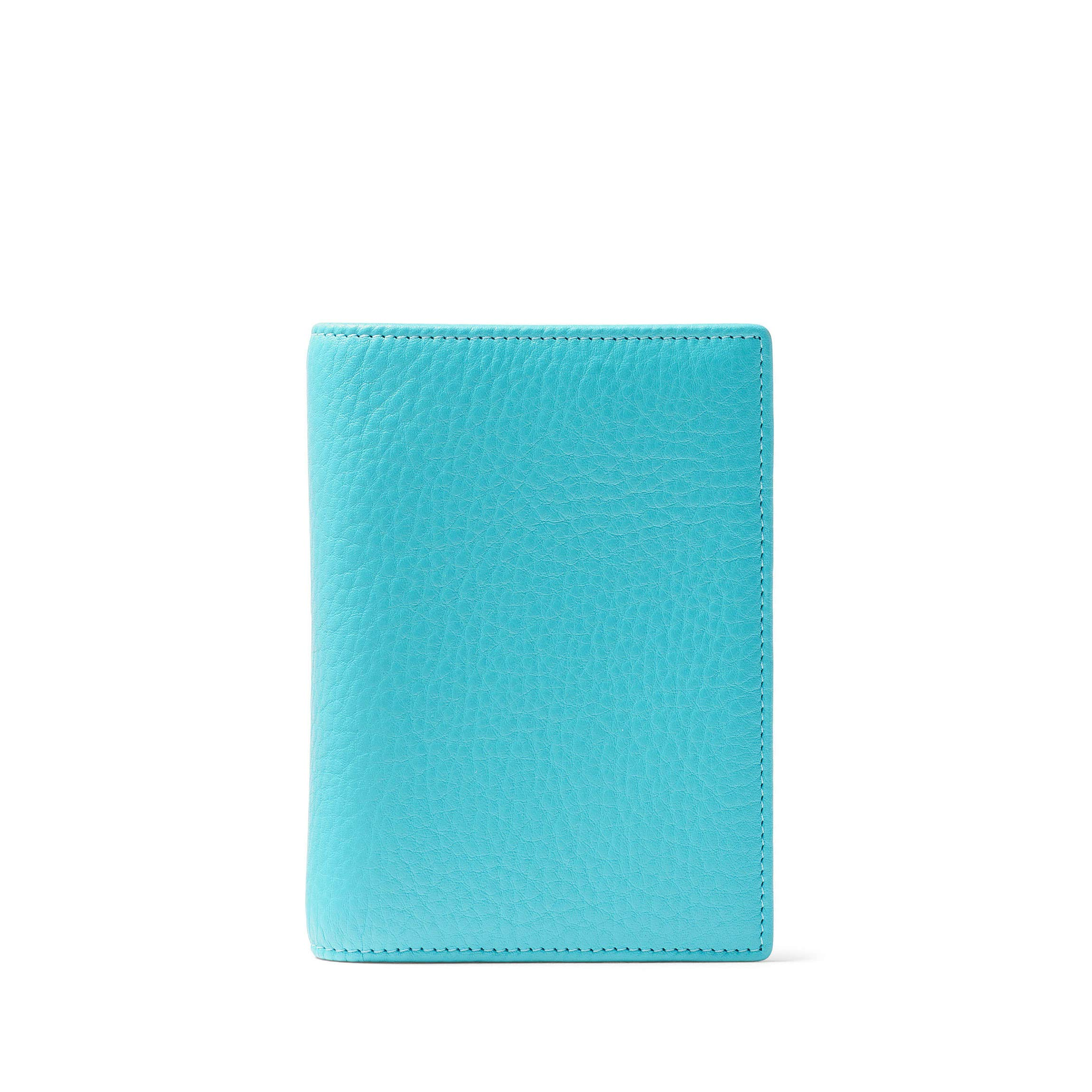 Deluxe Passport Cover - Full Grain Leather - Teal (blue)