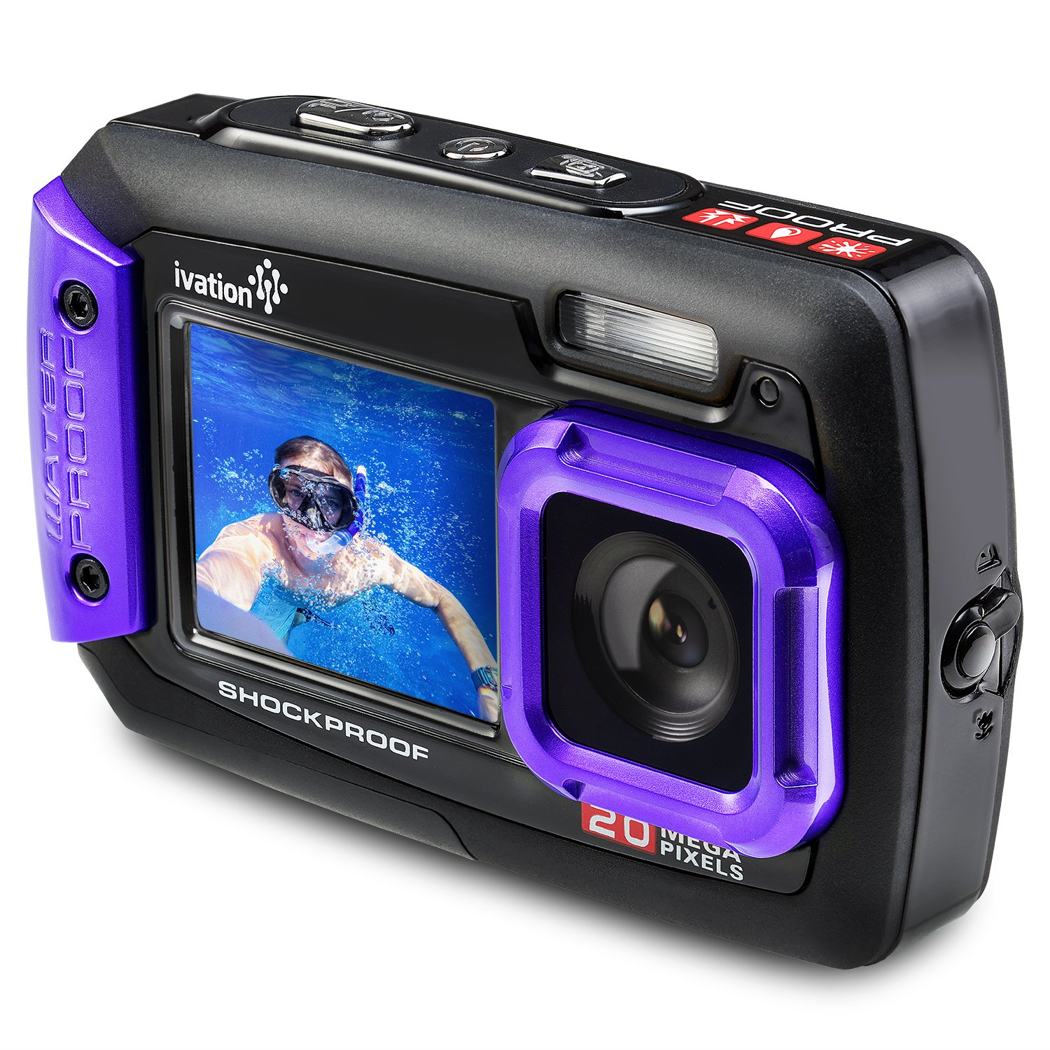 Ivation 20MP Underwater Waterproof Shockproof Digital Camera & Video Camera w/Dual Full-Color LCD Displays – Fully Submersible Up to 10 Feet (Purple)