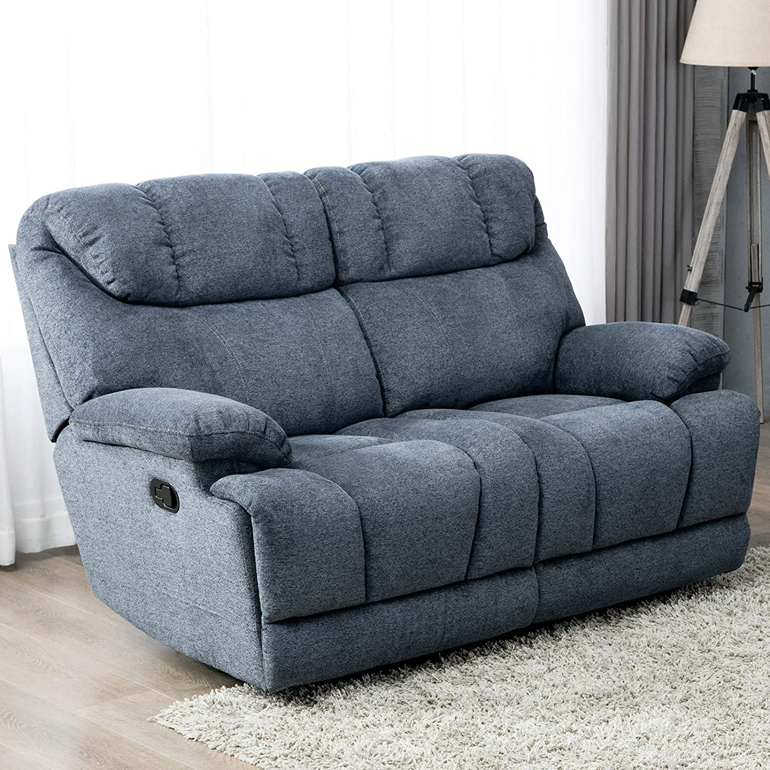 CANMOV Reclining Loveseat, Soft Warm Microfiber Velvet RV Living Room  Chair, Manual Recliner Sofa (2 Seater) with Padded Headrest and Back, Blue