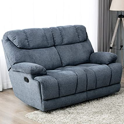 Peachy Canmov Reclining Loveseat Soft Warm Microfiber Velvet Rv Living Room Chair Manual Recliner Sofa 2 Seater With Padded Headrest And Back Blue Uwap Interior Chair Design Uwaporg