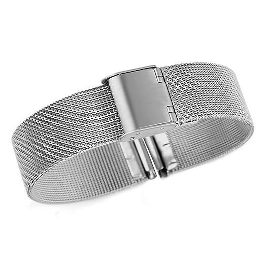 de ancho metálicos lujo correas de reloj de malla milanesa de 24mm de los hombres reemplazos para los relojes suizos: Amazon.es: Relojes
