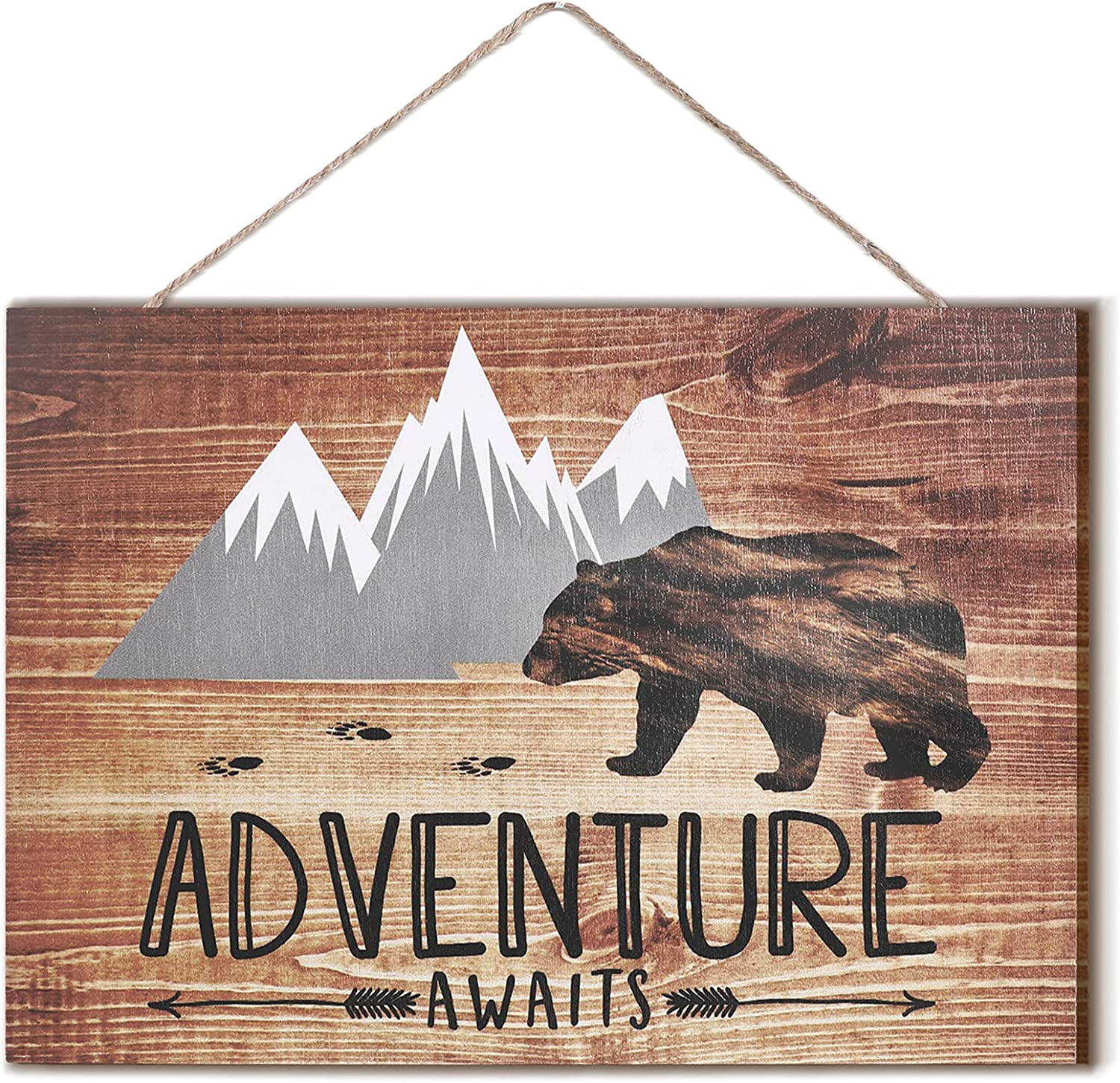 Vintage Adventure Awaits Rustic Wooden Plank Sign with Bear Mountain Shaped Grey and White Decorative Wall Sign Family Decorative Sign Inspirational Motto for Home Kitchen Living Room,10 x 7 Inch
