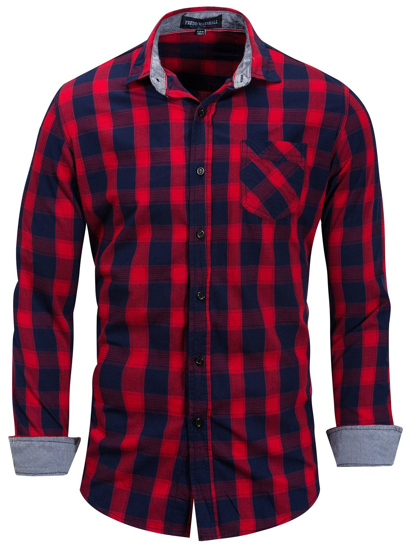 Neleus Men's Cotton Casual Plaid Long Sleeve Dress Shirt,158,Red,L,EU XL