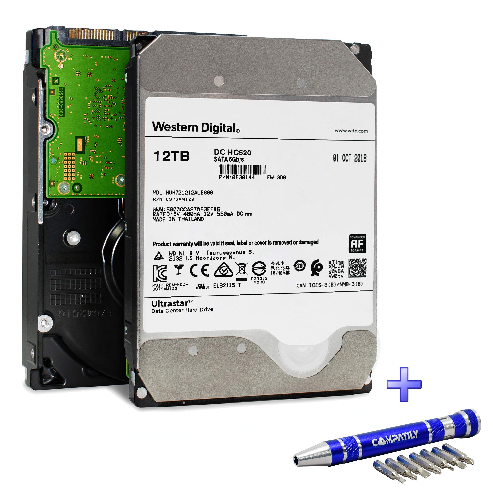 Western Digital Ultrastar DC HC520 HDD 12TB 7.2k RPM SATA 6Gb/s 256MB Cache 3.5-Inch Enterprise Internal Hard Drive | HUH721212ALE600 | 0F30144 | Bundle with COMPATILY Hard Drive Carrier Screw Kit