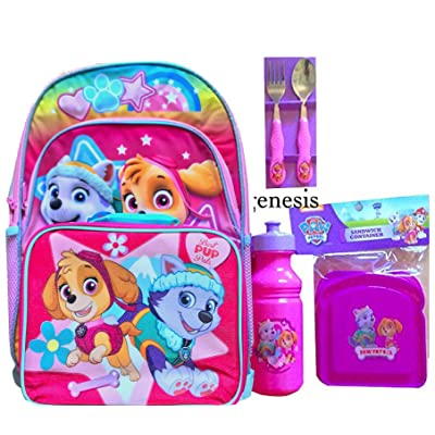 Paw Patrol Girls Backpack With Lunch Bag & 4 Pc Paw Patrol Lunch Kit Back To School Specials