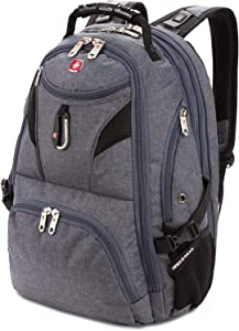 SWISSGEAR 5977 ScanSmart Laptop Backpack | Fits Most 17 Inch Laptops and Tablets | TSA Friendly Backpack | Ideal for Work, Travel, School, College, and Commuting (Grey)