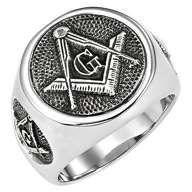 Amazon.com: MasonicMan Acero Inoxidable Anillo Masónico con ...