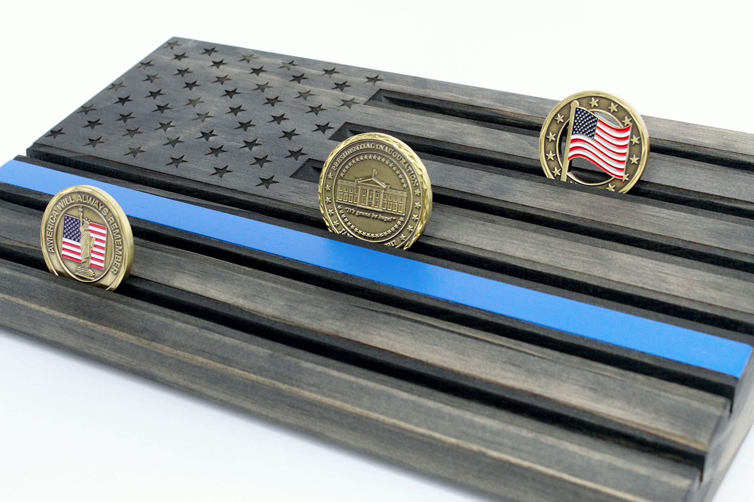LOKI ENGRAVING Thin Blue Line Black American Flag Challenge Coin Display