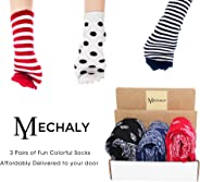 Mechaly Socks - 3 Surprise Pairs of Socks Subscription Box: Men Crew Socks