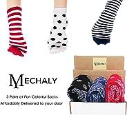 Mechaly Socks - 3 Surprise Pairs of Socks Subscription Box: Men Crew Socks