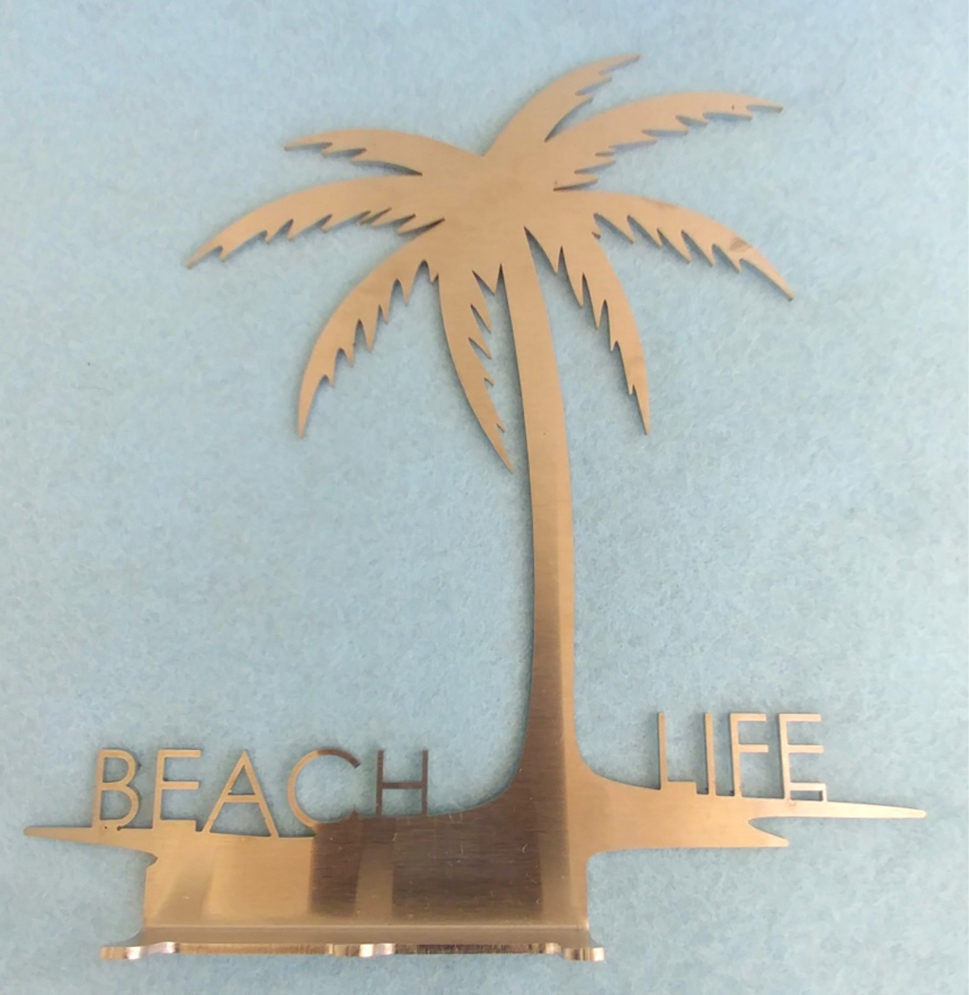 Unique Stainless Steel Key Rack holds spare keys, fobs, remotes: Beach Life with Palm Tree