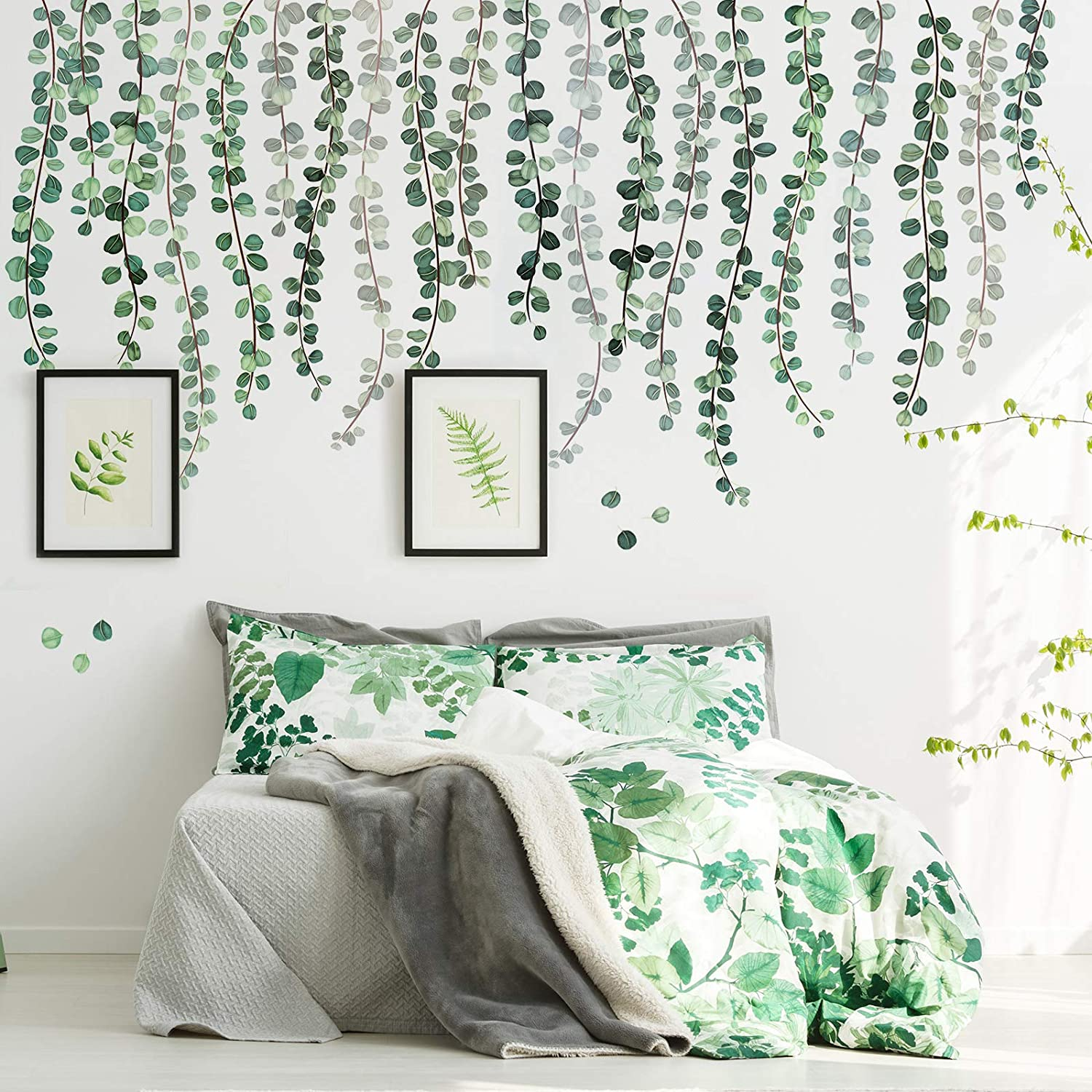 Green Plants Eucalyptus Vine Leaves Wall Decal Removable Watercolor Wall Art Decor Peel and Stick Wall Sticker Art Murals Decoration for Home Nursery Decor Living Room (7 Sheets,11.8 x 35.4 Inch)